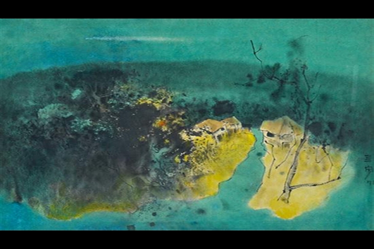Cheong Soo Pieng, Blue Landscape, 1971, Mixed media on rice paper, 51 x 64 cm