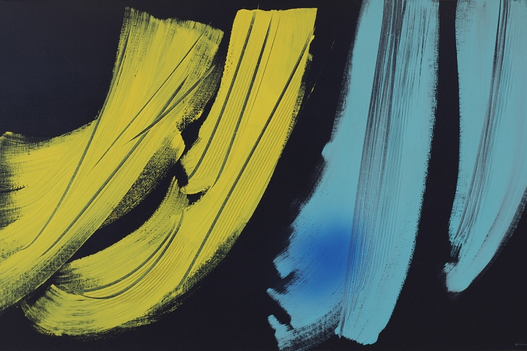 Hans Hartung, T1973-H42, 1973, Vinyl paint on canvas, 111 x 180 cm