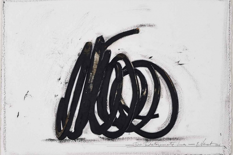 Bernar Venet, Two Indeterminate Lines, 2006, Oilstick on paper collage and pencil on paper, 37.5 x 53 cm