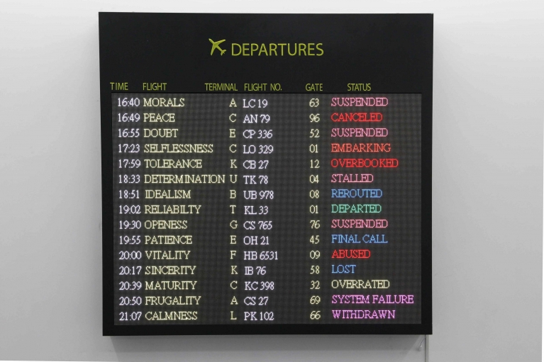 Lin Jingjing, We Are Free to Choose but We are Not Free From the Consequences of Our Choices: Departure Board, 2017. LED display panels, acrylic, aluminum-plastic panel, 200 x 200 cm.