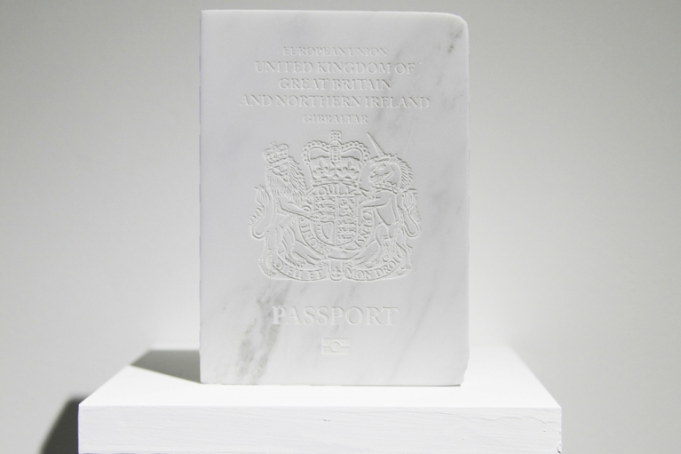 Lin Jingjing, Username or Password Incorrect, 2017. Marble, 12.5 x 9 x 1.5 cm .