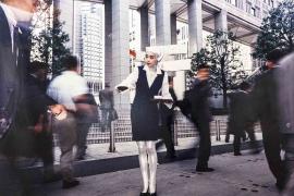 Mariko Mori, Tea Ceremony I, 1994, Fuji super gloss print, wood, aluminium, pewter frame, 121.9 x 152.4 x 5.1 cm