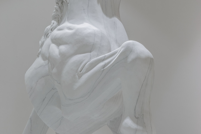 Dong Jinling, The Purity of a Horse (Detail), 2018. White marble, 207x165 x87cm, 127x130x60cm