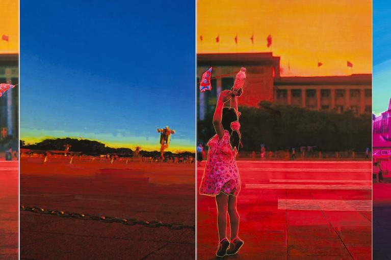 林菁菁, 震耳欲聋的寂静, 2015, 印刷, 布本丙烯和线, 200 x 135 厘米每個, 200 x 810 厘米整個