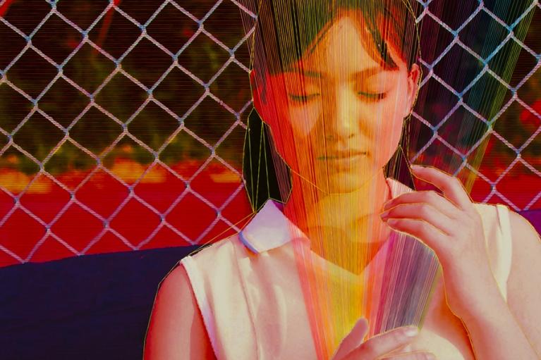 林菁菁, 中国梦:真实的幻觉, 2015, 印刷, 布本丙烯和线, 130 x 130 厘米