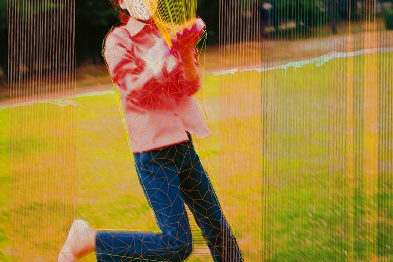 林菁菁, 中国梦:乐园, 2015, 印刷, 布本丙烯和线, 130 x 130 厘米