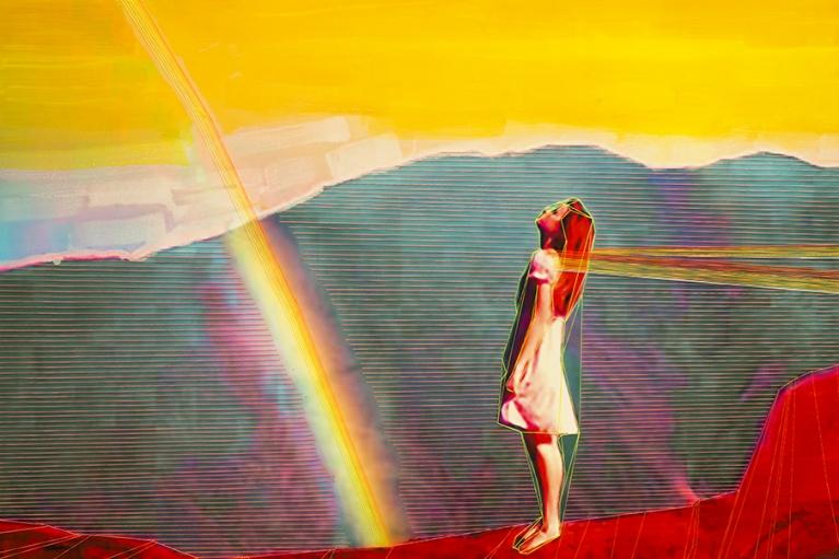 林菁菁, 中国梦: 等待奇迹, 2015, 印刷, 布本丙烯和线, 130 x 130 厘米