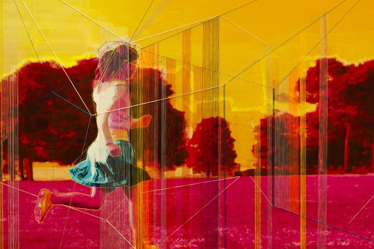 林菁菁, 中国梦:迷宫, 2015, 印刷, 布本丙烯和线, 130 x 130 厘米