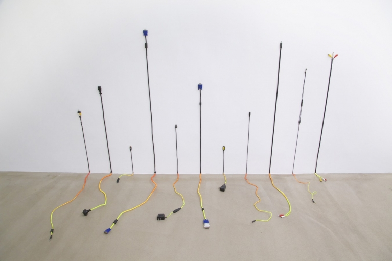 Lin Jingjing, I Have Yearned for Something I can not Afford, 2015, Installation, Electrical cable, thread, 123 x 210 x 80 cm
