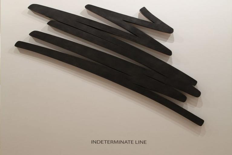 伯纳尔·威尼斯, 不定的線, 1984, 石墨在木材, 132 x 178 x 7.5 厘米