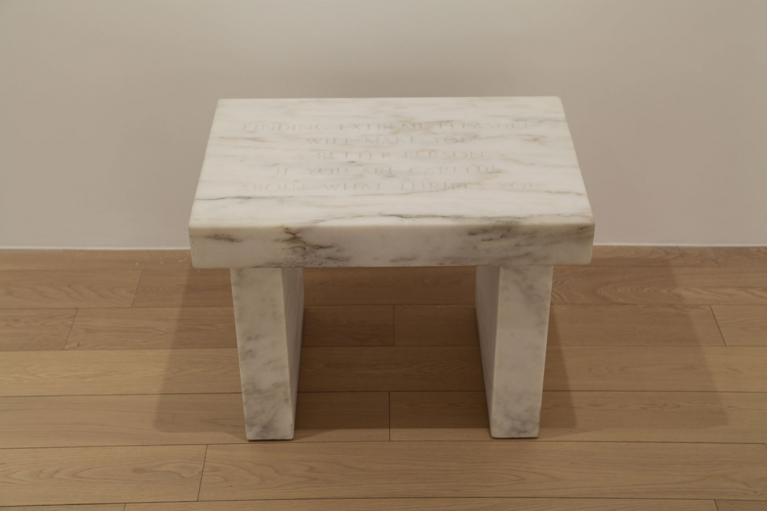 Jenny Holzer, Selections from Survival: Finding Extreme Pleasure…, 1983-85, Danby Imperial White marble, 43.18 x 58.42 x 40.01 cm
