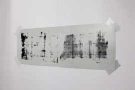 Mark Chung, Fugue, 2020. Silkscreen on galvanized steel sheet, 40.5 x 124 cm.