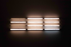 Mark Chung, Ptosis, 2020. Fluorescent lights, dimming ballast, 45.5 x 187 x 7 cm.