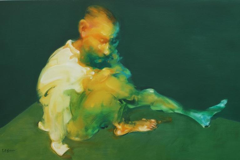 吳建軍,坐在角落的男子,2014,布面油畫,80 x 130 厘米