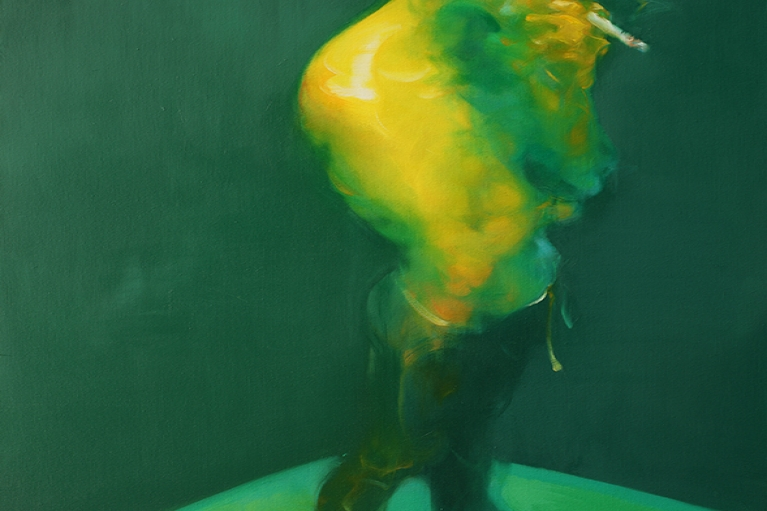 Wu Jianjun, Man Smoking, 2016, Oil on Canvas, 200 x 130 cm