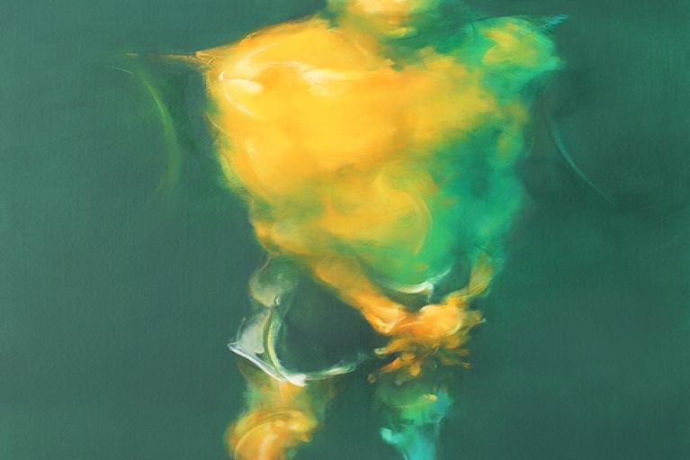 吳建軍,站立的男子,2014,布面油畫,150 x 80 厘米
