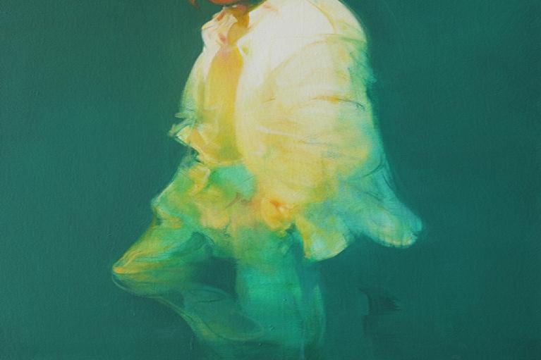 吳建軍,戴鳥面具的男子,2016,布面油畫,150 x 80 厘米