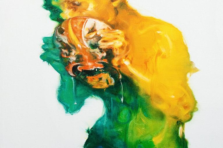 吳建軍,臉譜,2010,布面油畫,100 x 60 厘米