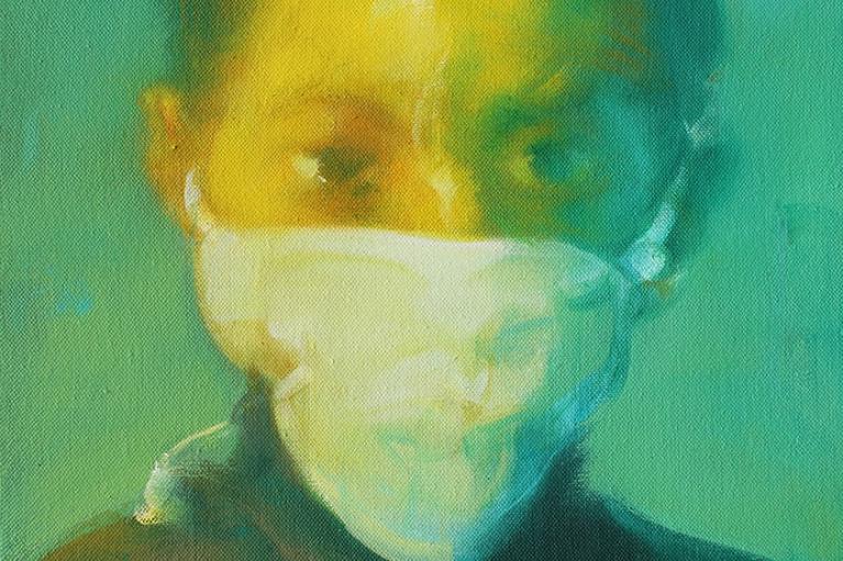 吳建軍,小頭像1號,2016,布面油畫,45 x 35 厘米