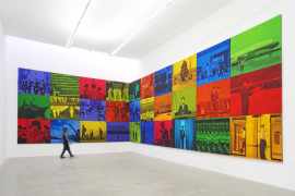 Lin JIngjing, Public Memory 2, 2013, Mixed media on canvas, 135 x 162 cm each painting, 405 x 972 cm overall size