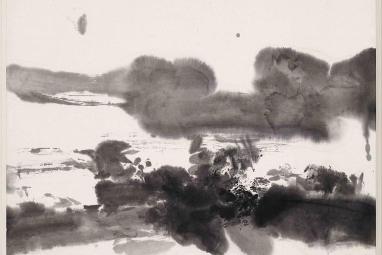 趙無極,無題,1975,日本紙本水墨,33.5 x 45.5 厘米